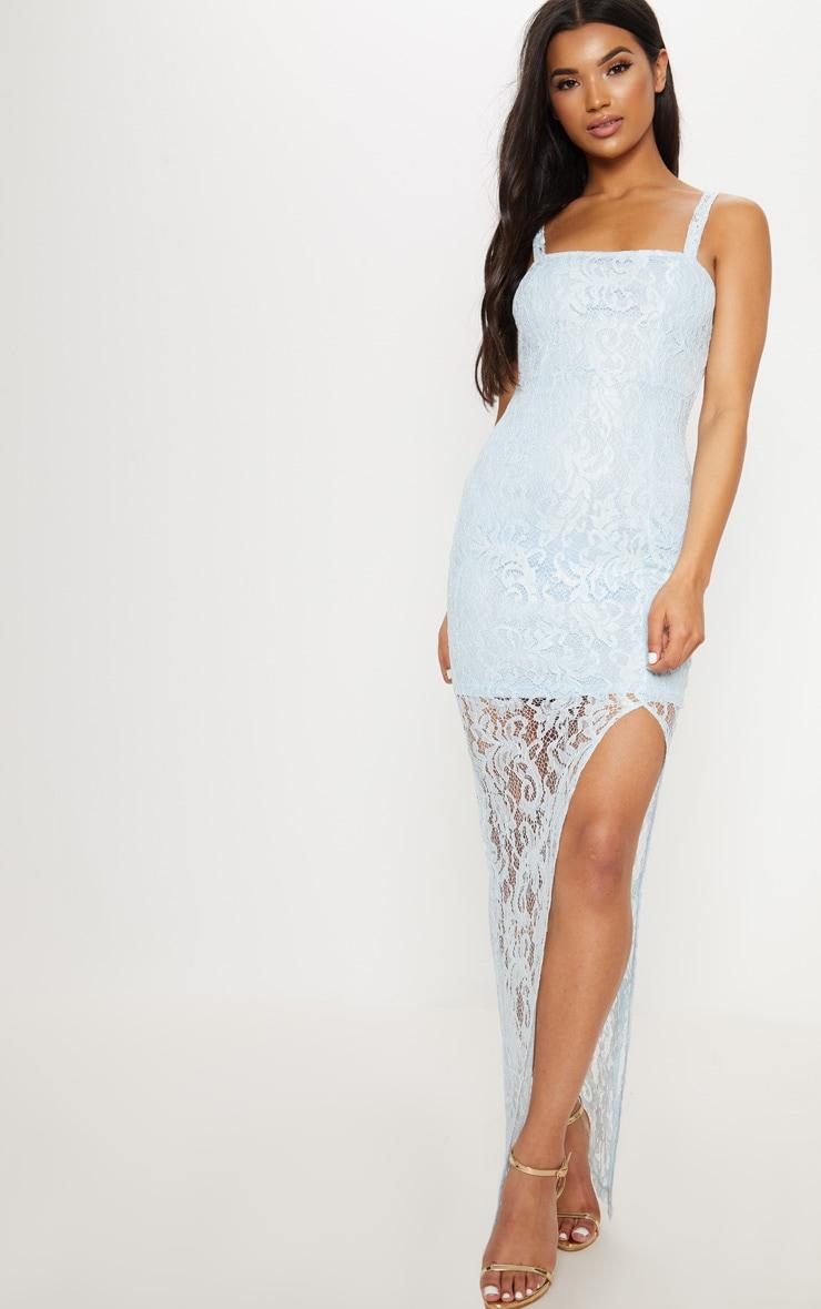 Dusty Blue Lace Square Neck Extreme Split Maxi Dress 1