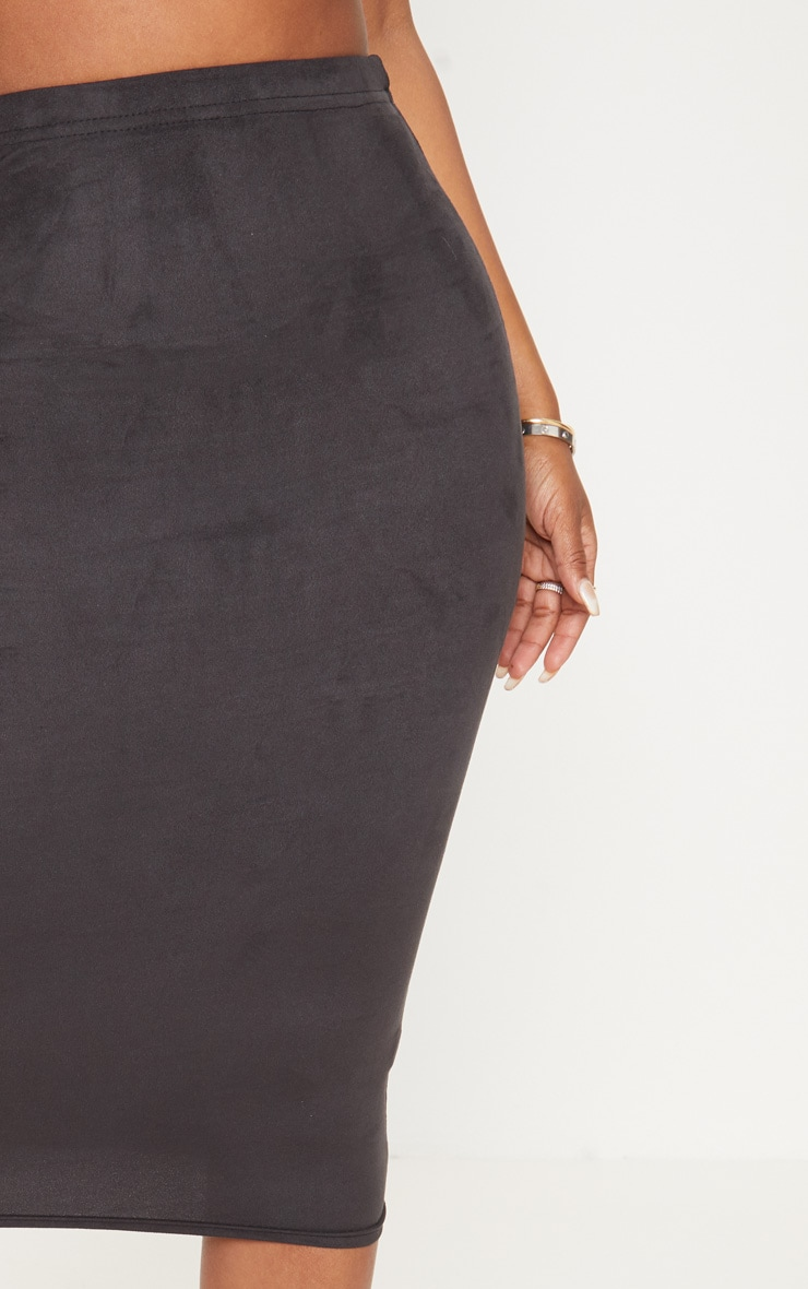 Shape Black Faux Suede Midi Skirt 5
