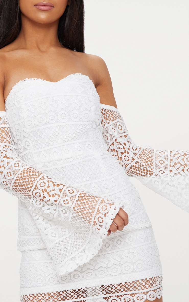 White Lace Flare Sleeve Bardot Bodycon Dress 5