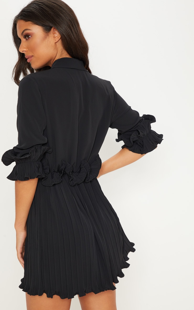 Black Frill Detail Pleated Skater Dress 2