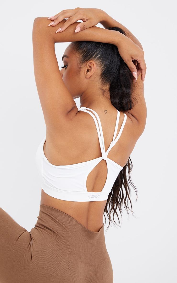 White Strappy Twist Back Sports Bra 4