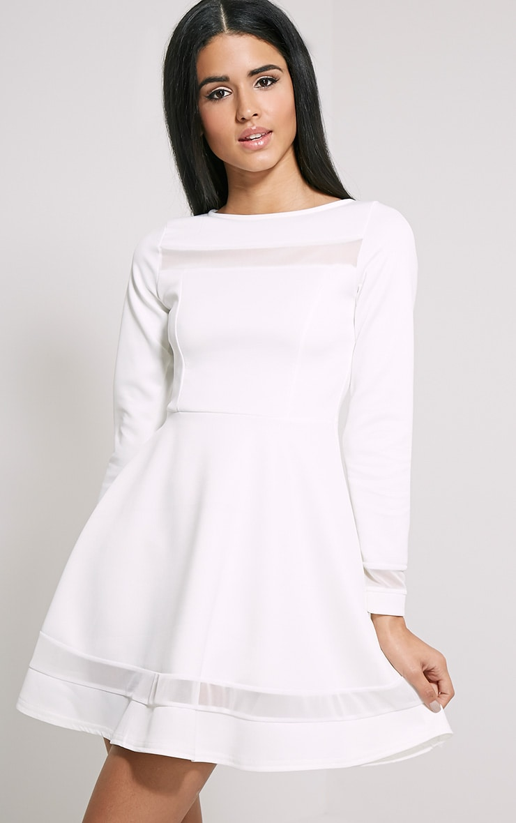Leyah Cream Mesh Insert Skater Dress 1