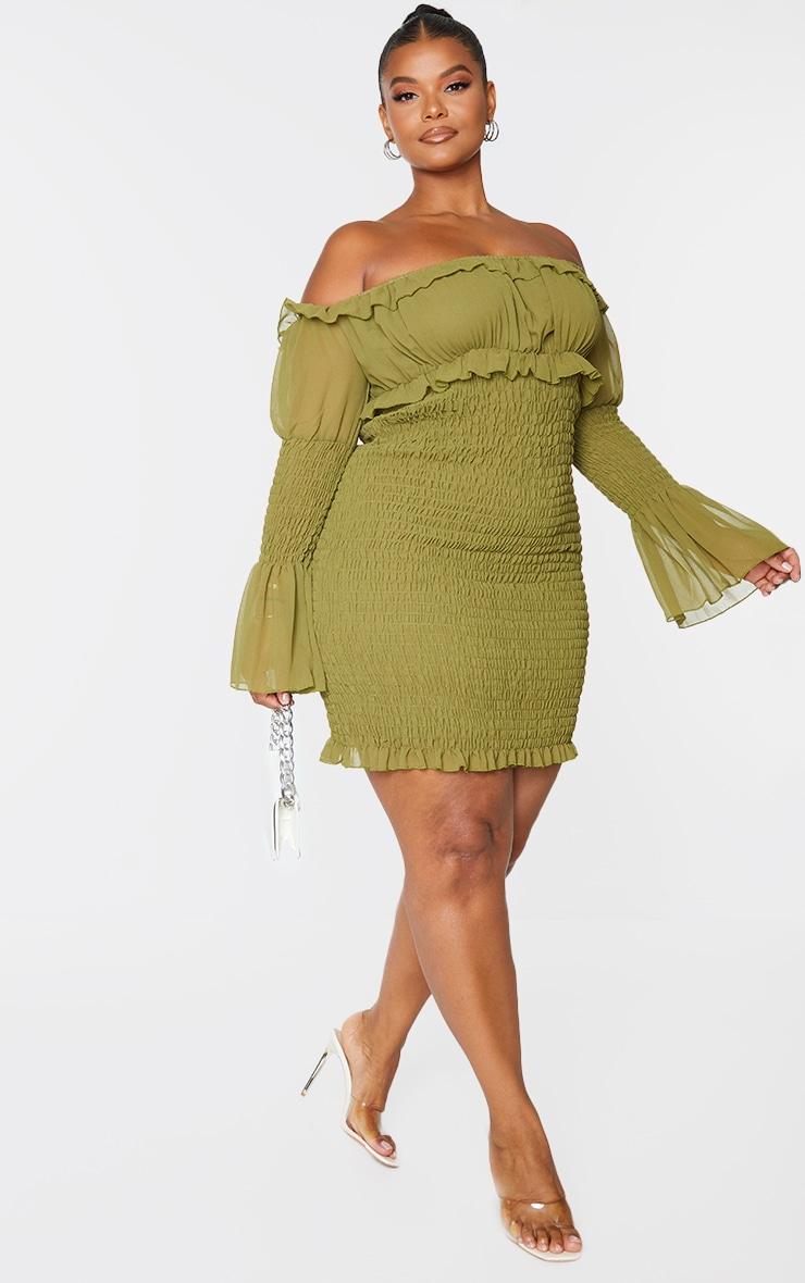 Plus Olive Shirred Chiffon Bodycon Dress 1