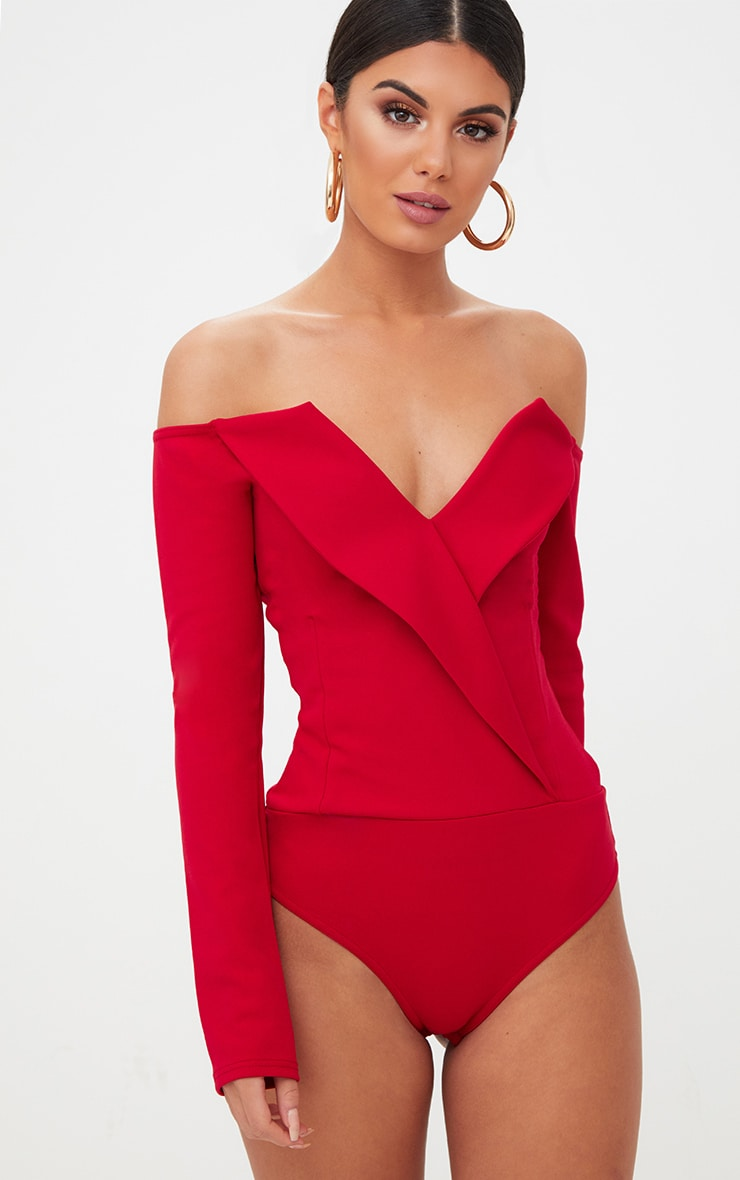 Red Tux Blazer Detail Bardot Bodysuit  2