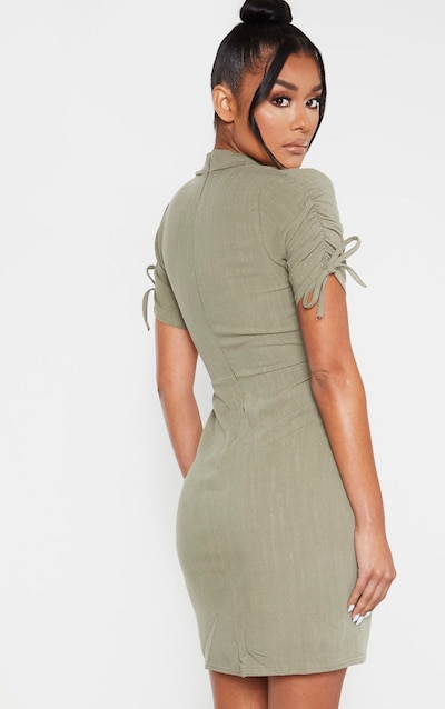 Khaki Linen Ruched Sleeve Deep Plunge Bodycon Dress