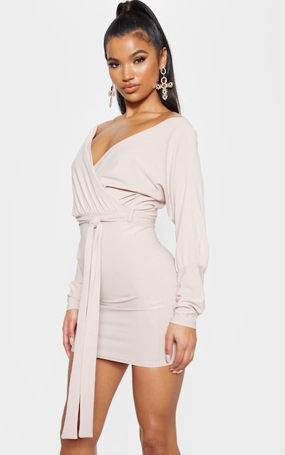 Stone Plunge Off Shoulder Tie Front Bodycon Dress 0960073ae