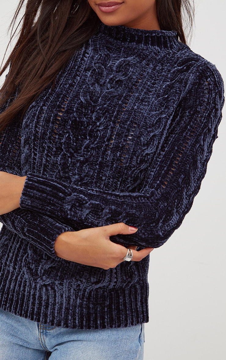 Blue Chenille Cable Jumper 5