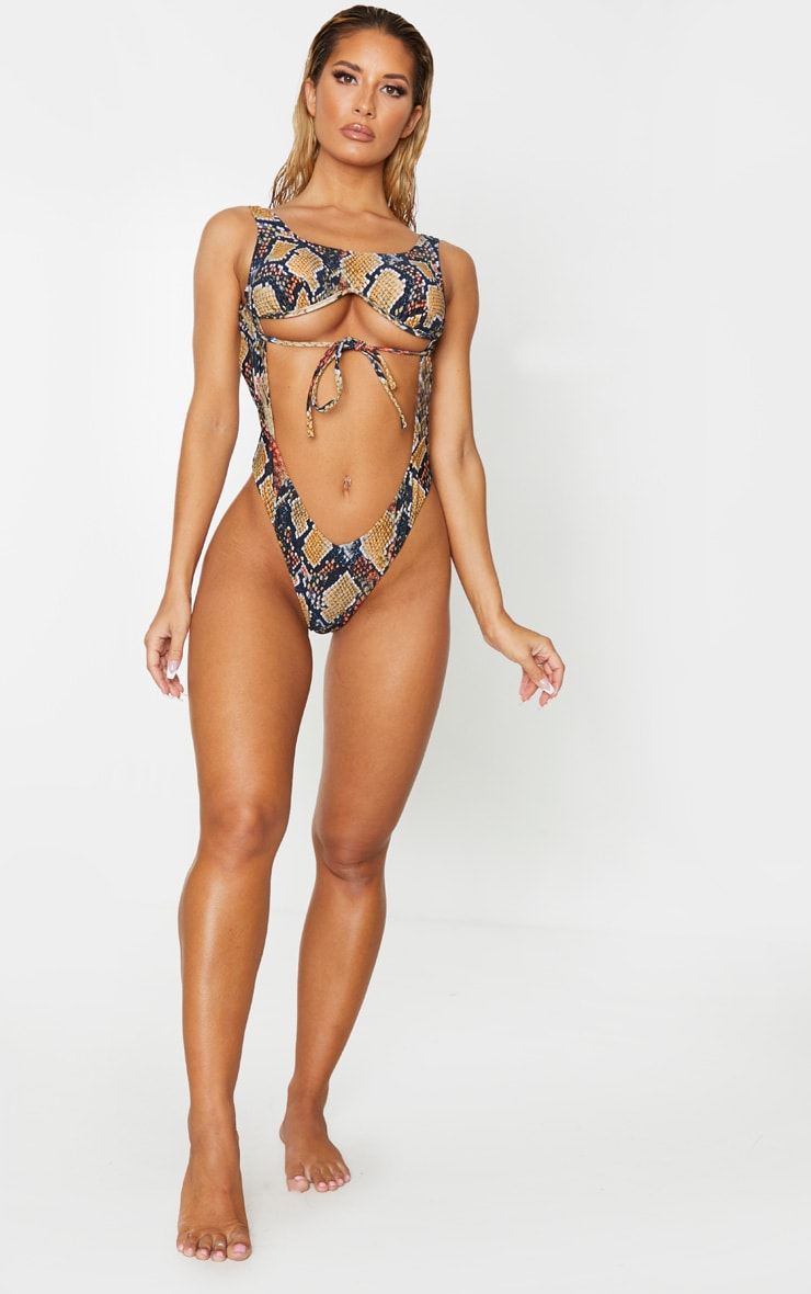 Brown Snake Underwired Cupped Cut Out Swimsuit 4