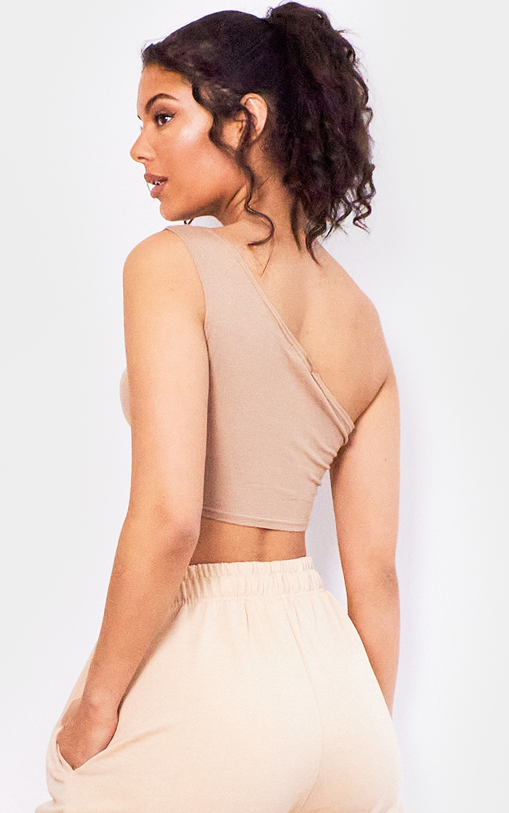 Basic Taupe  Jersey One Shoulder Crop Top 2