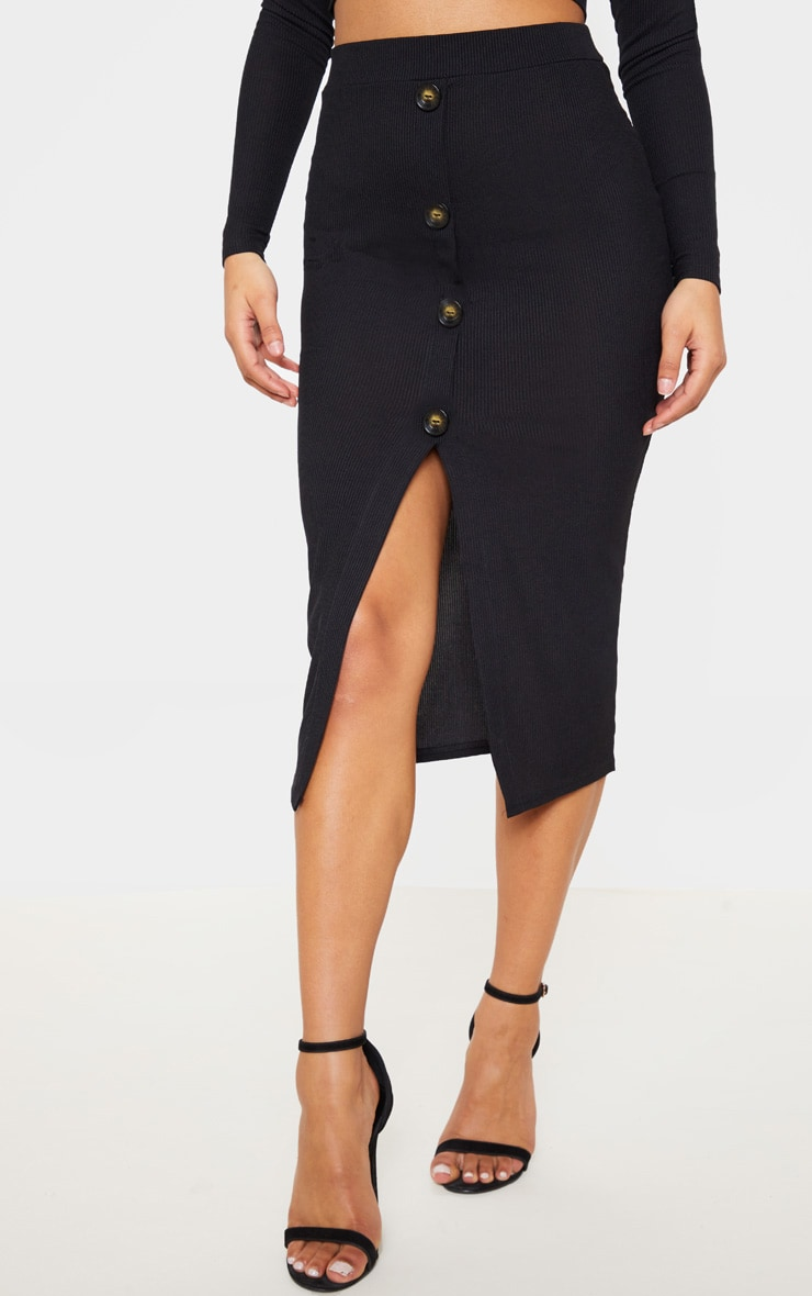 Black Rib High Waisted Tortoise Button Detail Midi Skirt 2