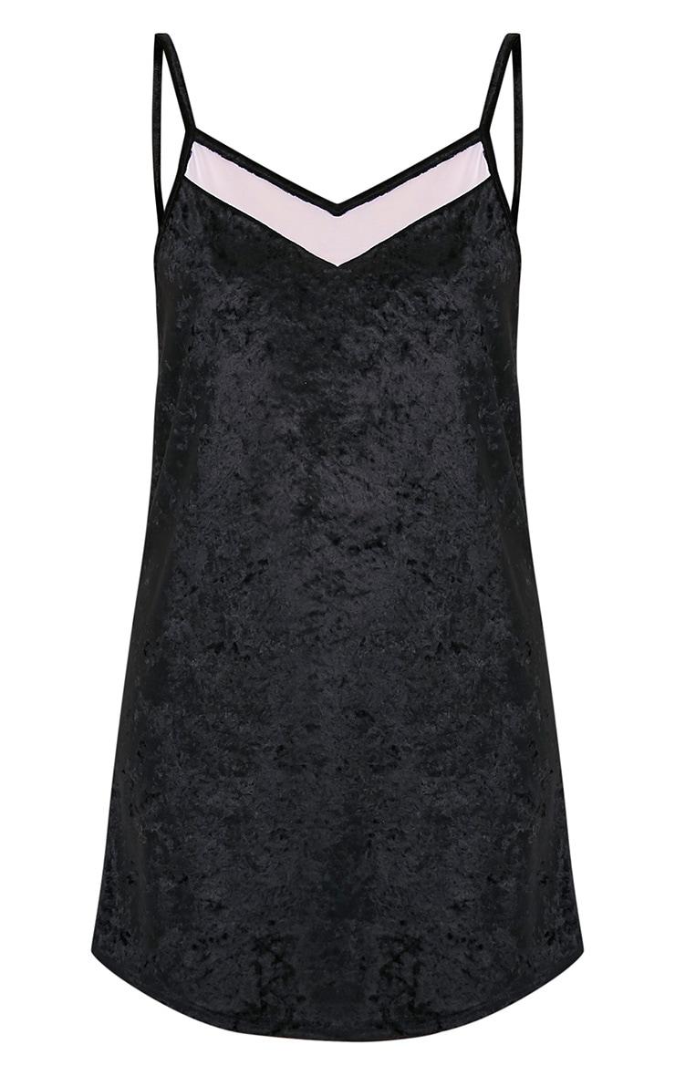 Carmela Black Velvet Mesh Insert Swing Dress 3