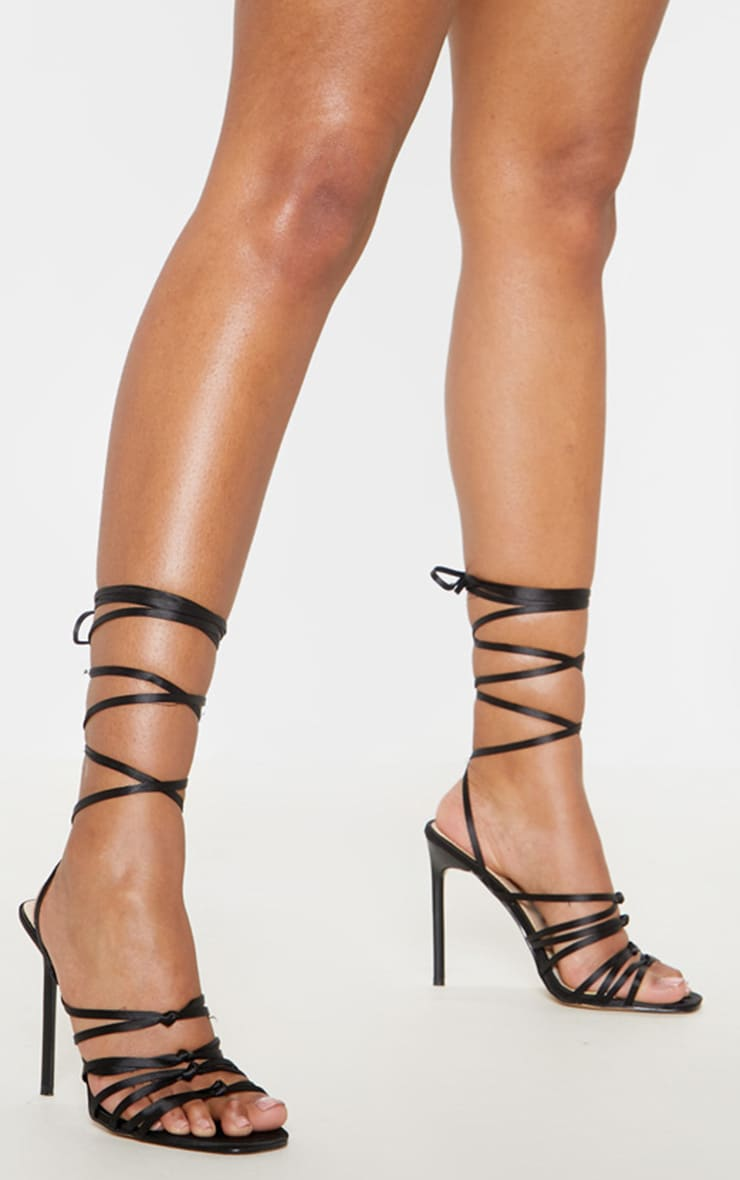 Black Satin Strappy Lace Up Sandal  1