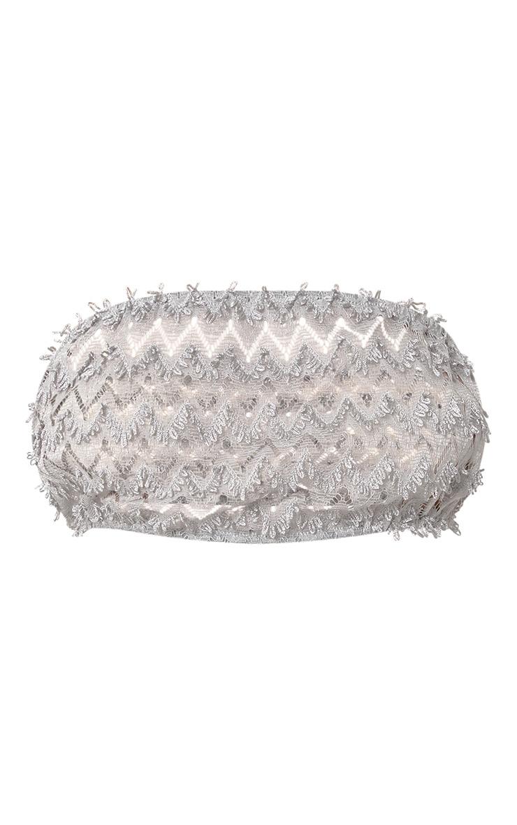 Grey Beachwear Crochet Detail Bandeau Crop Top  3