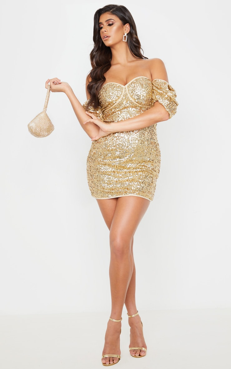 Gold Sequin Puff Sleeve Bardot Bodycon Dress 4