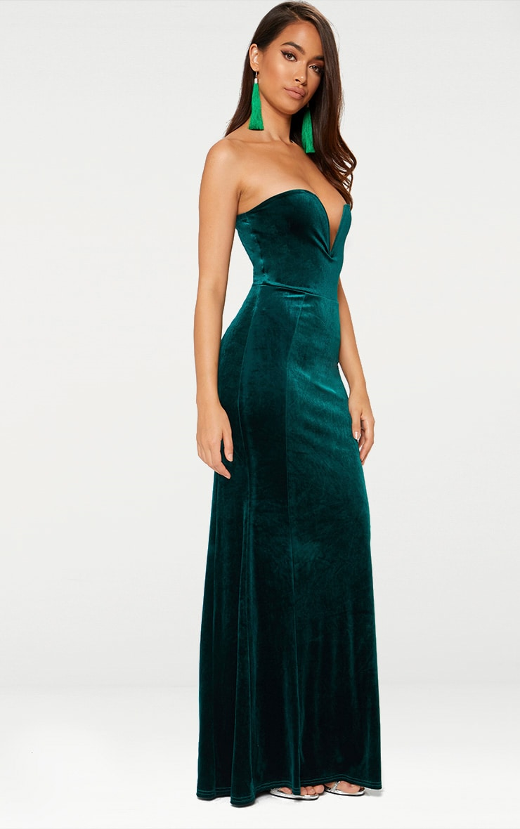Emerald Green Strapless V Plunge Maxi Dress 3