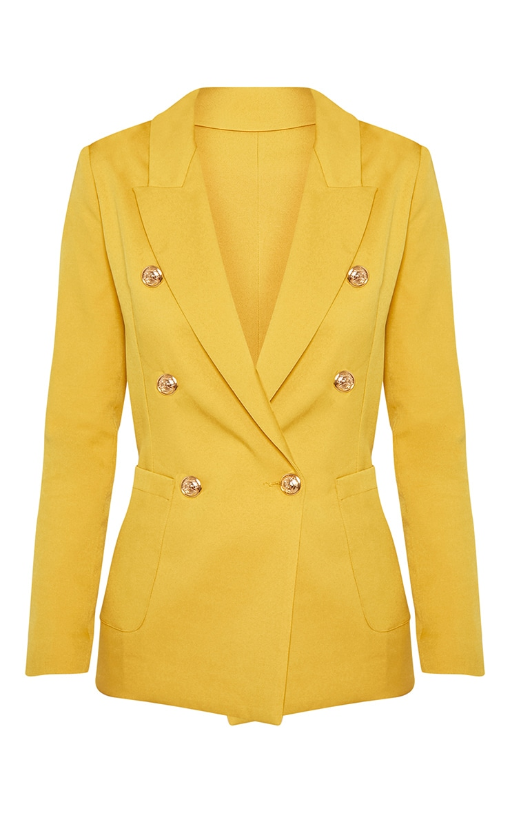 Mustard Double Breasted Military Blazer 3