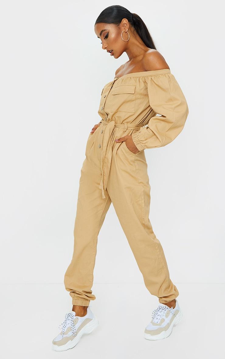 Sand Bardot Button Through Denim Joggers Jumpsuit 3