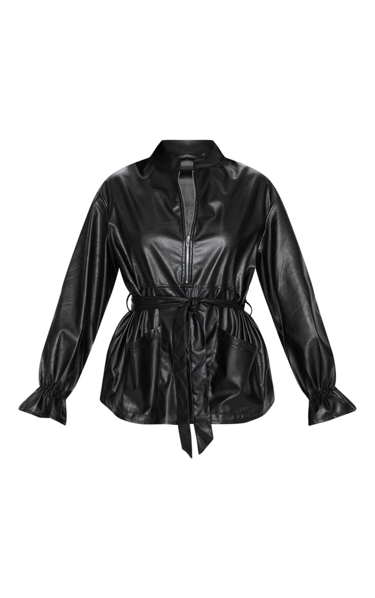 Black Faux Leather Zip Front Belted Top 3