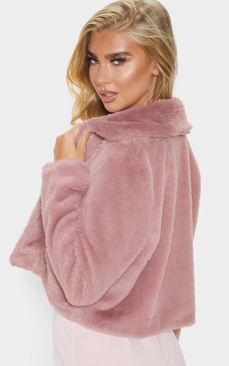 Rose Cropped Faux Fur Coat 2