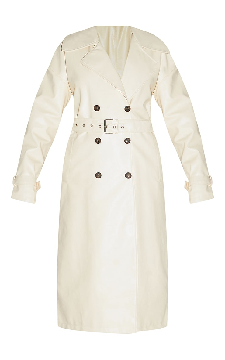 Cream Faux Leather Drop Shoulder Button Down Trench 5