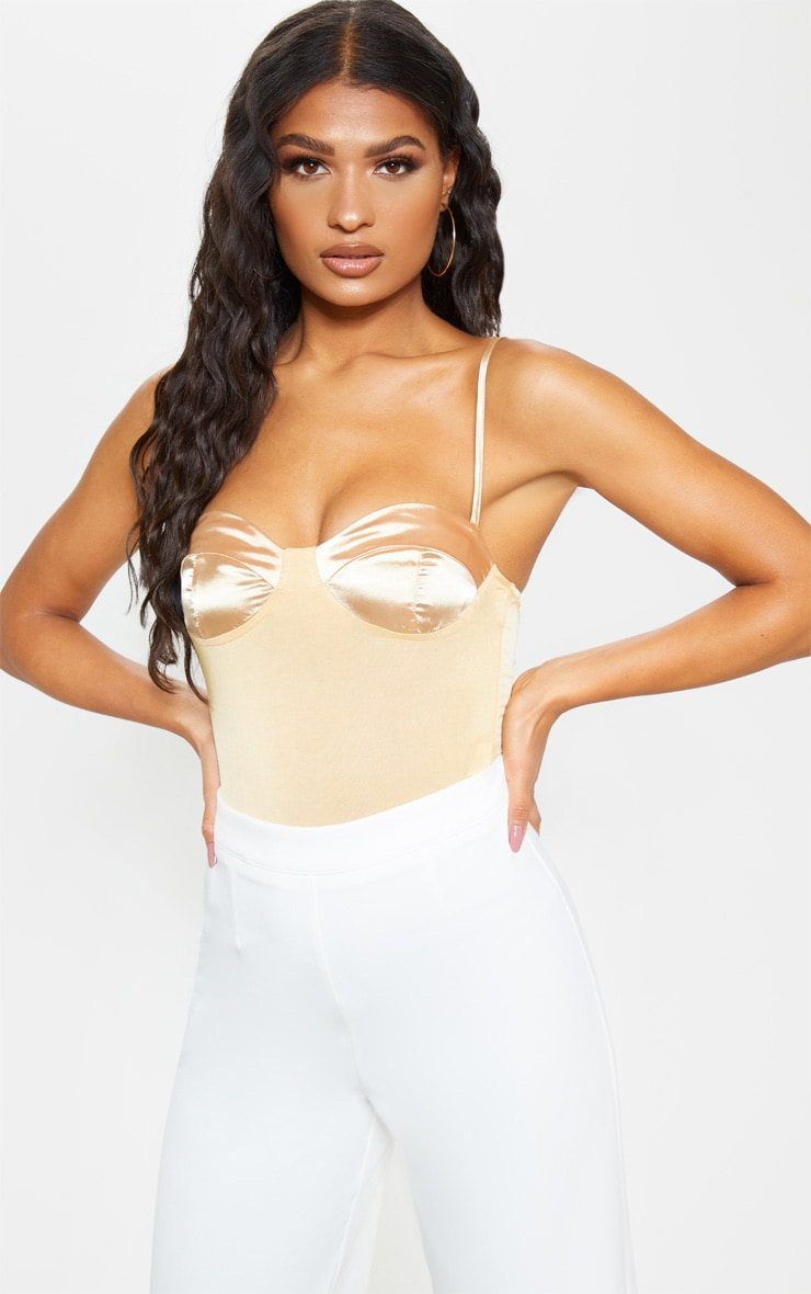 Champagne Satin Cup Bodysuit 1