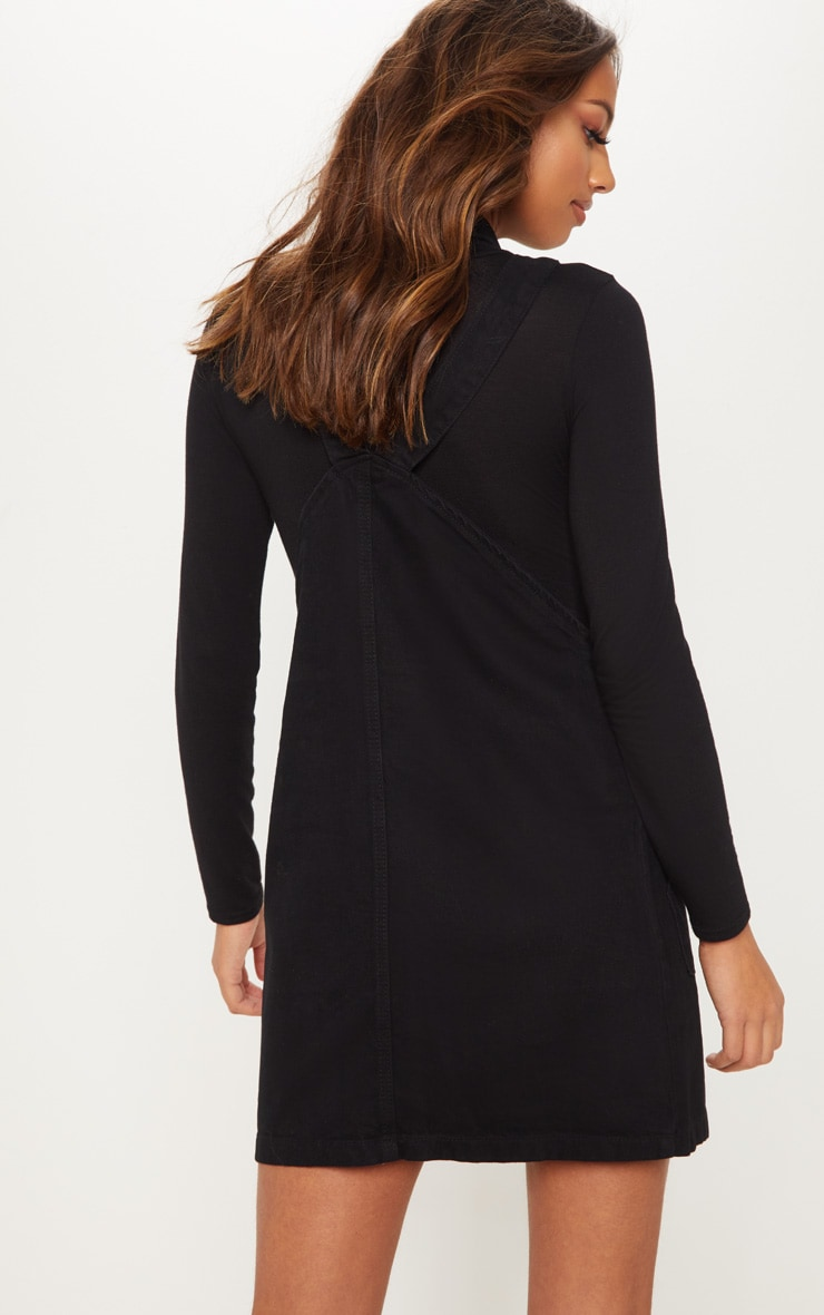 Button Through Black Denim Dress 2