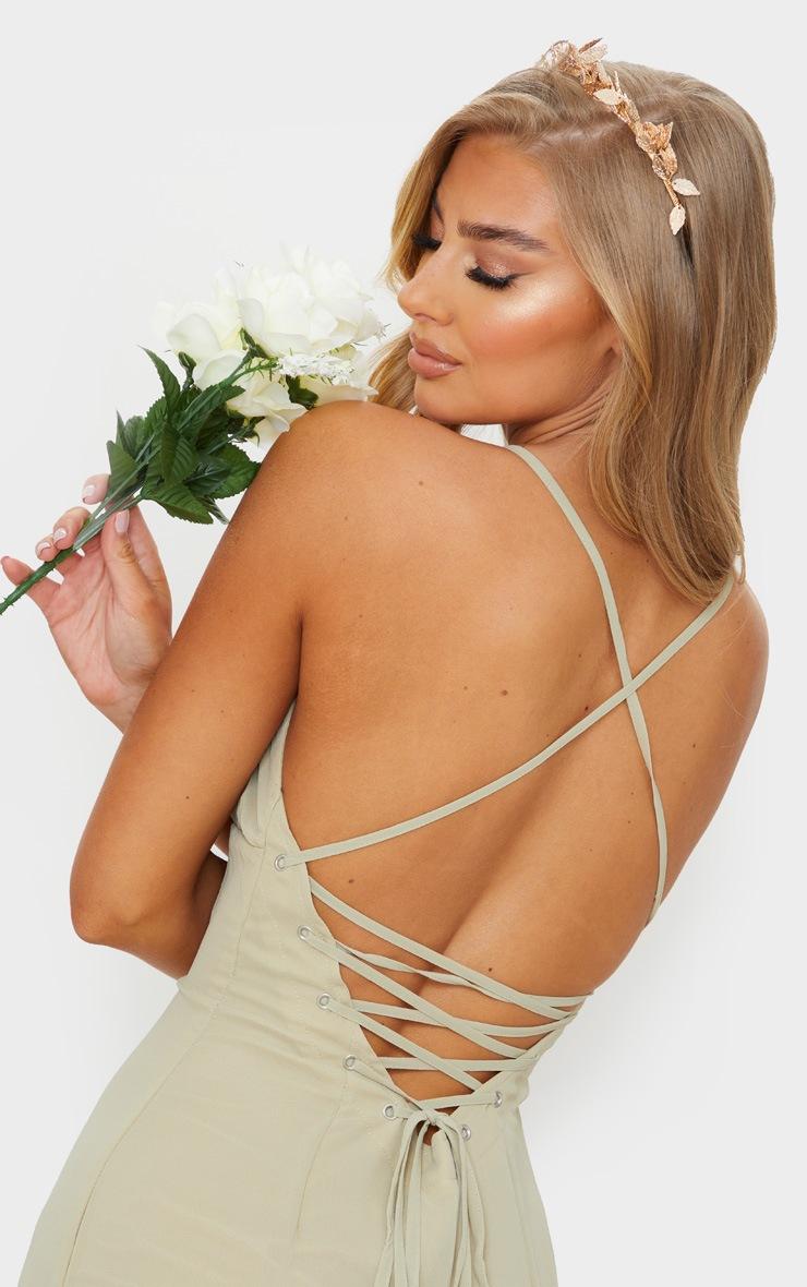 Soft Olive Strappy Lace Up Back Maxi Dress 5