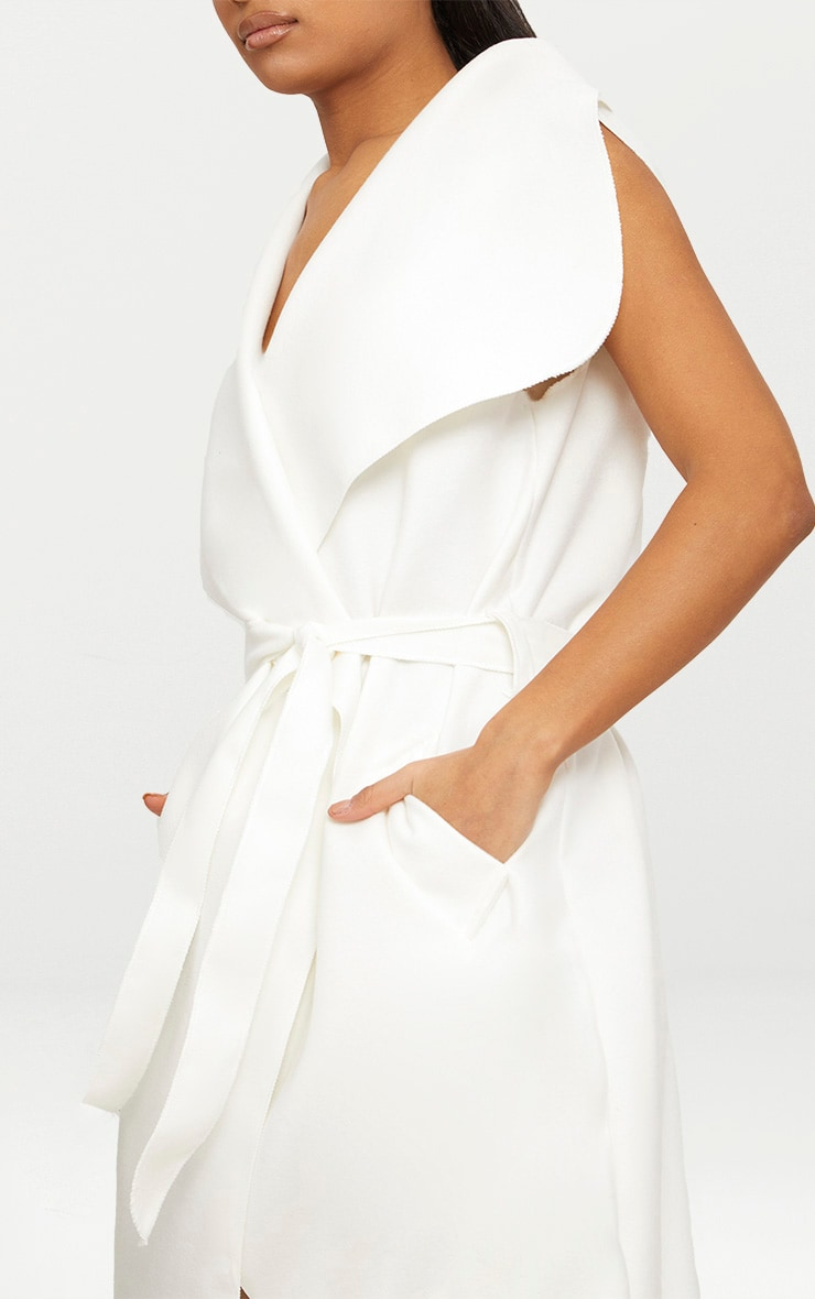White Sleeveless Waterfall Coat Belted Coat 5