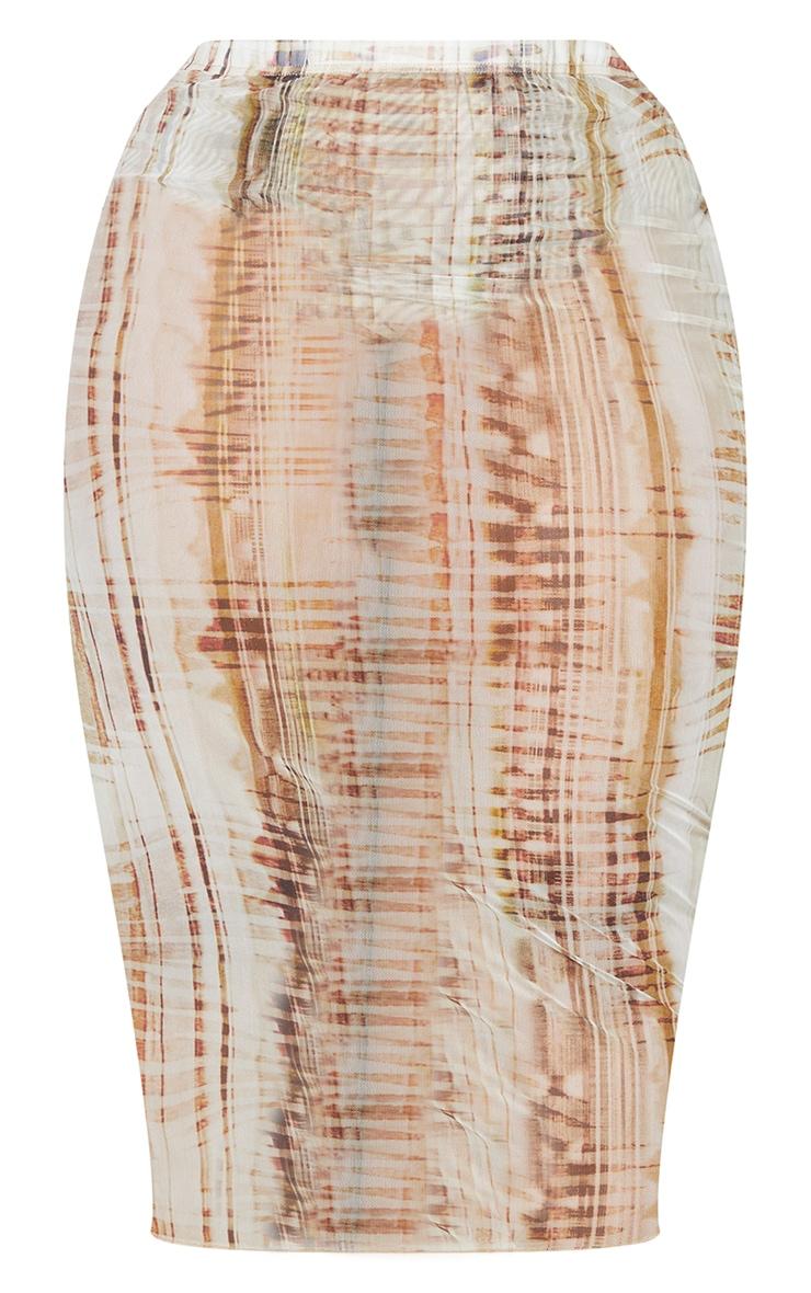 Plus Beige Textured Print Mesh Bodycon Midi Skirt 5