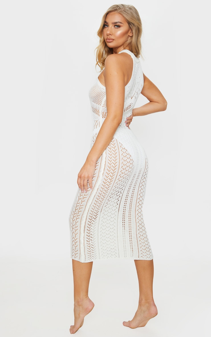 Cream Cut Out Detail Crochet Knit Midi Dress 2
