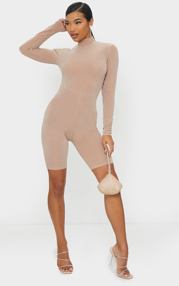 Nude Glitter Long Sleeve Unitard 1