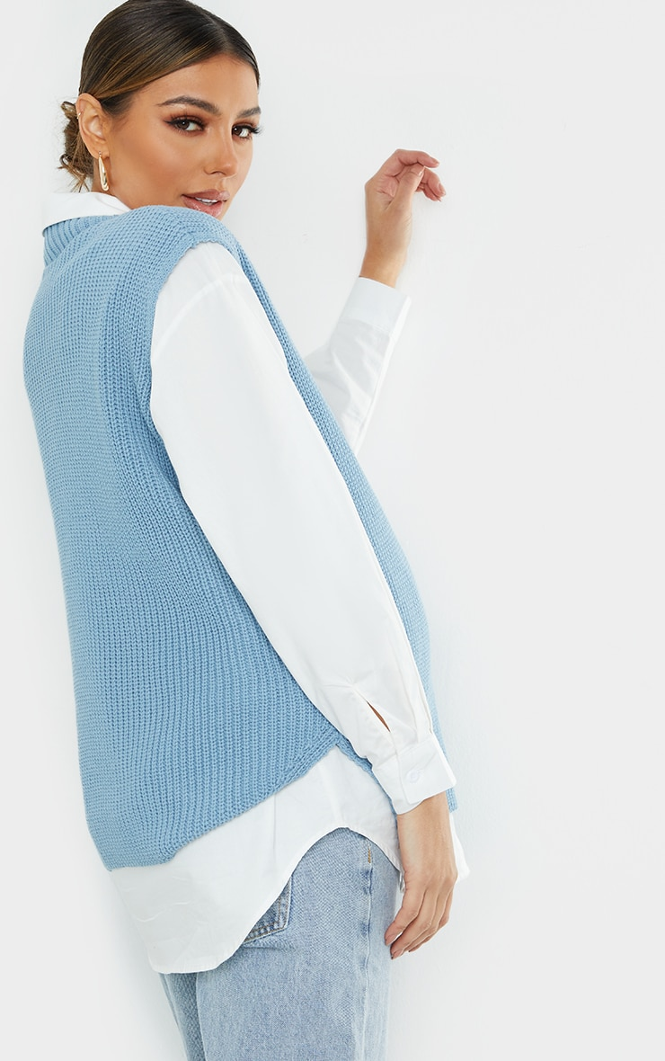 Maternity Dusty Blue  V Neck Knitted Side Split Vest 2