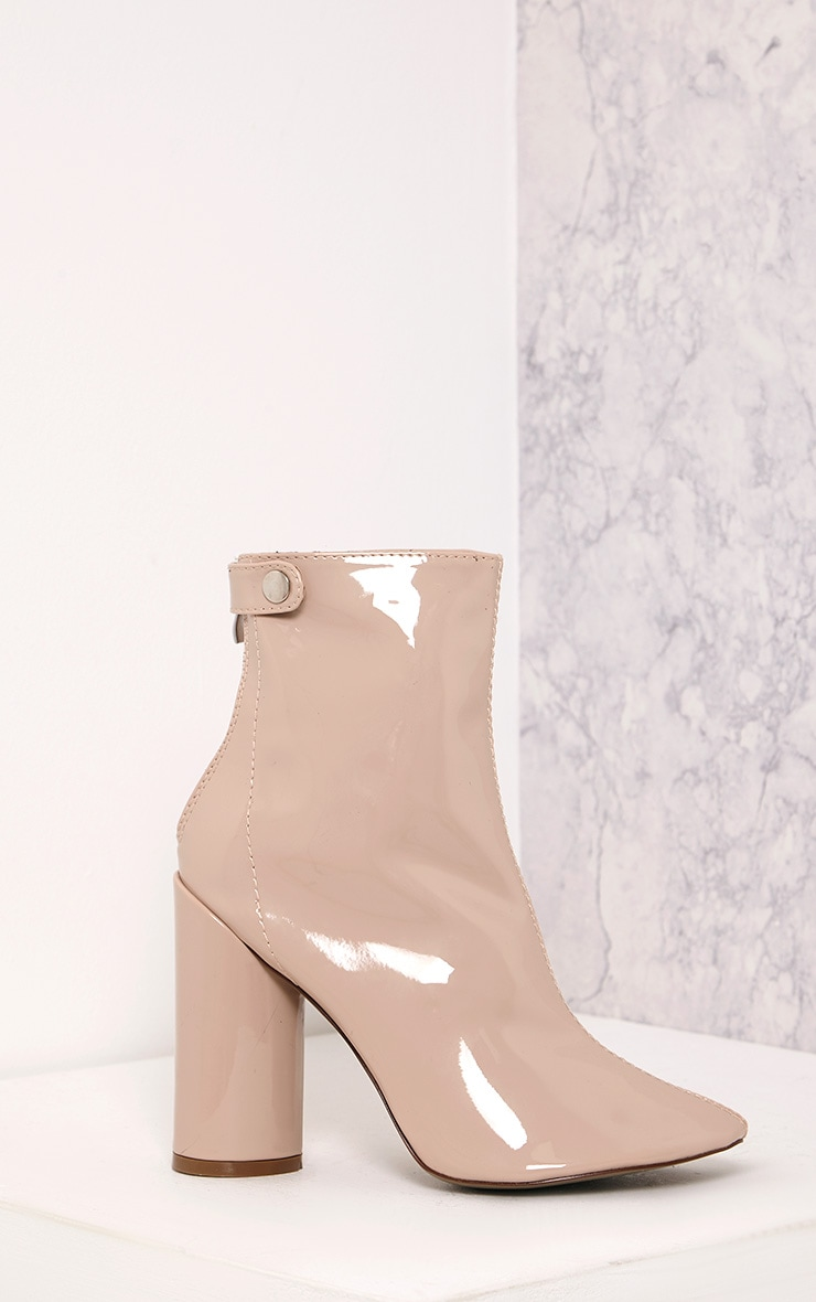 Amie Nude Patent Heeled Ankle Boots 1
