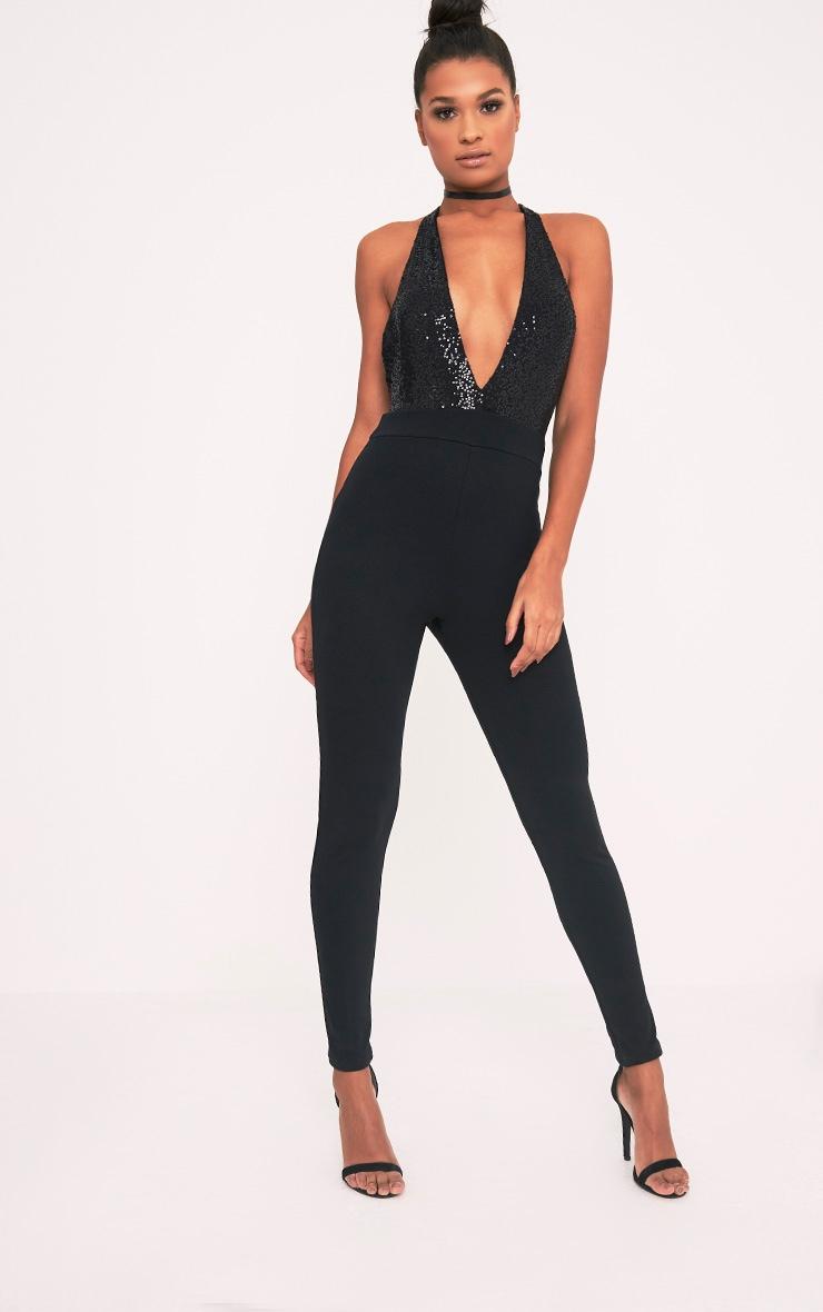 Telisa Black Sequin Top Jumpsuit 1