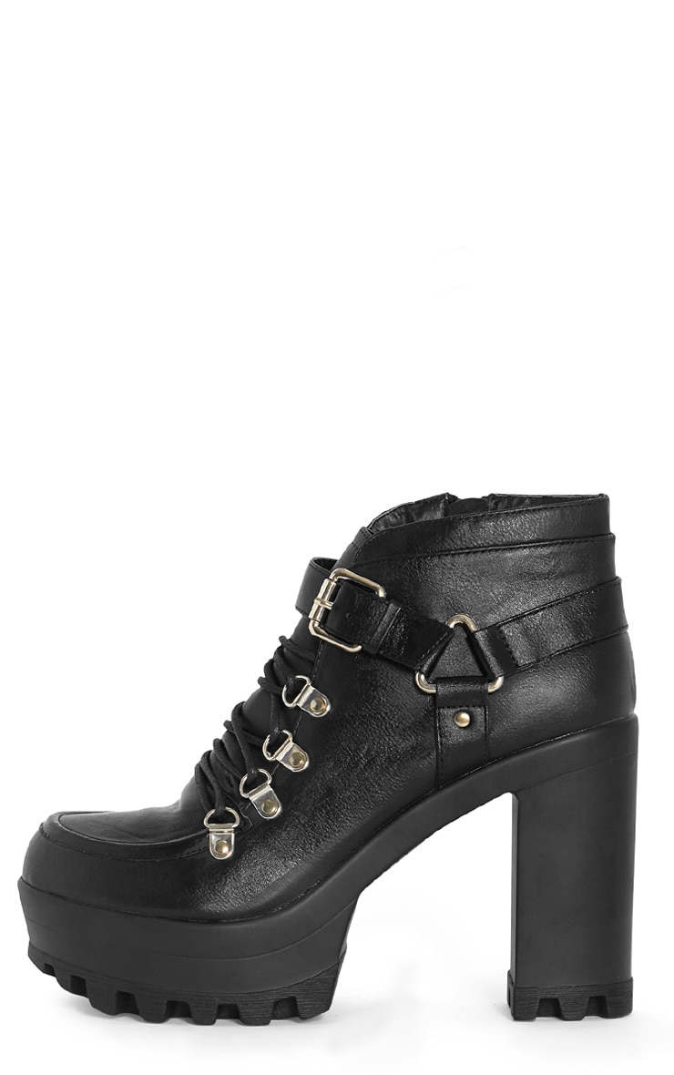 Celestia Black Cleated Sole Lace Up Boot  1