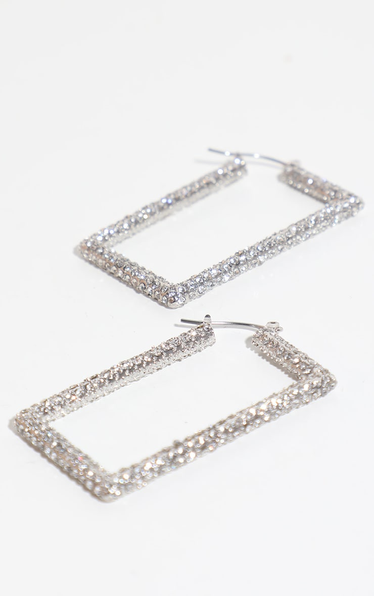 Silver Pave Medium Square Hoop Earring 1