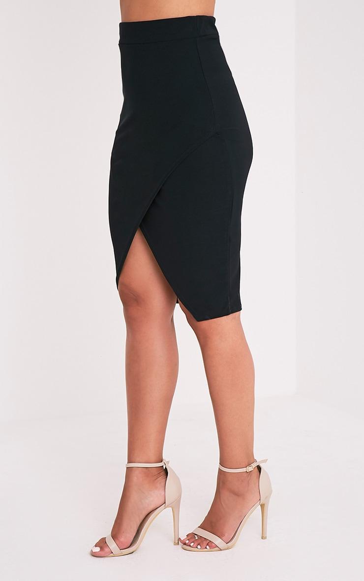 Aislynn Black Wrap Midi Skirt 4