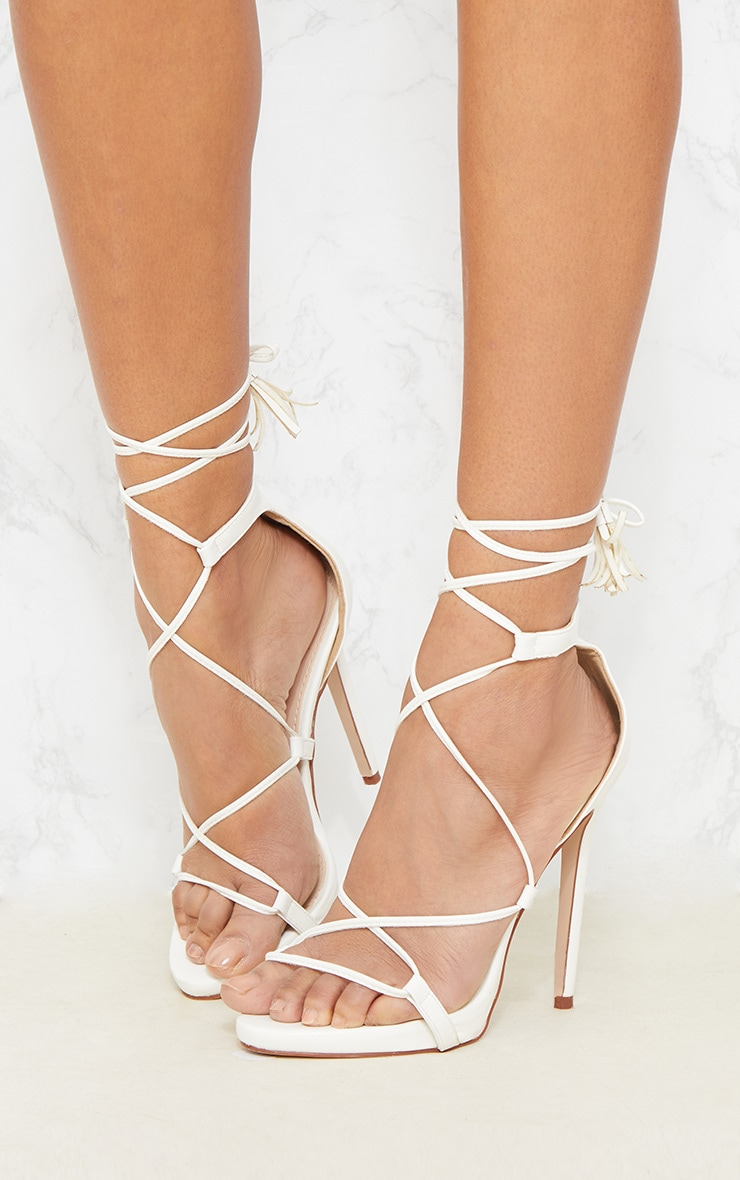 Rosaline White Tassel Lace Up Heels 3