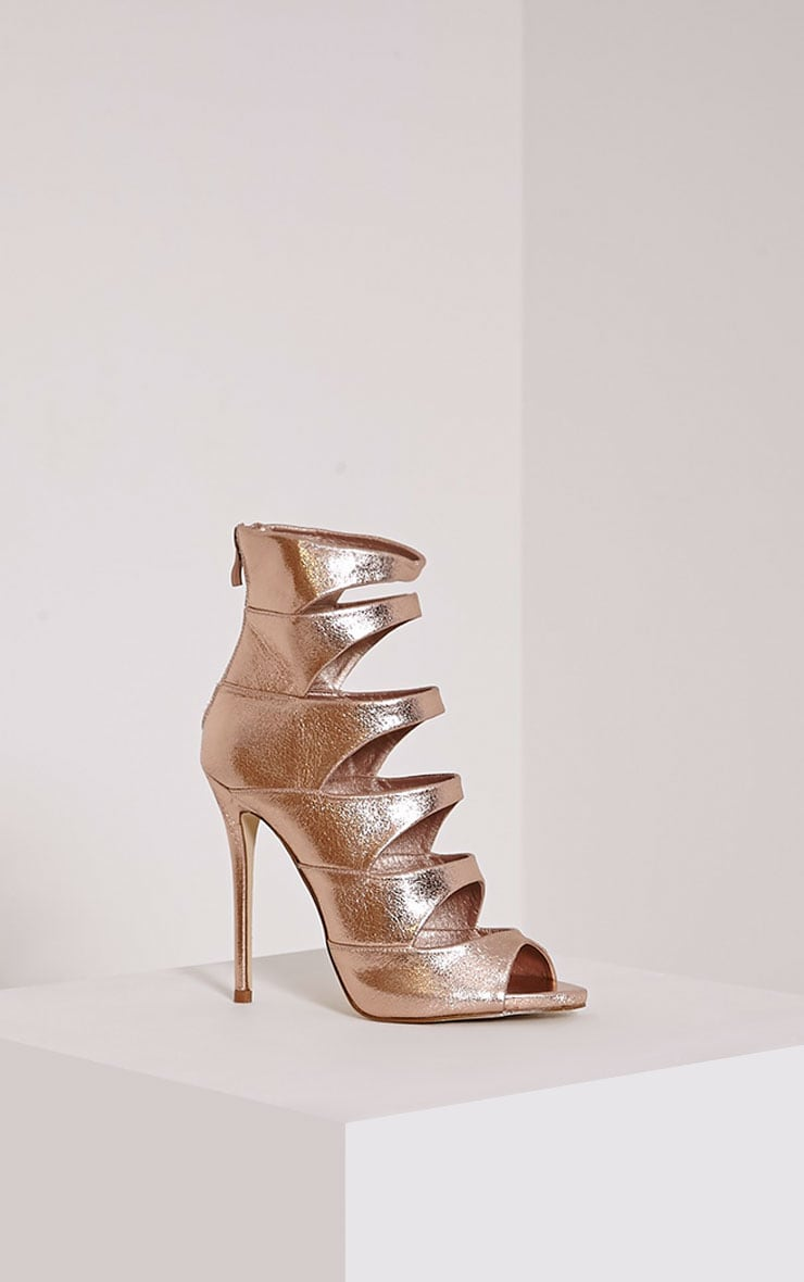 Drew Rose Gold Peep Toe Strap Detail Ankle Shoe 4