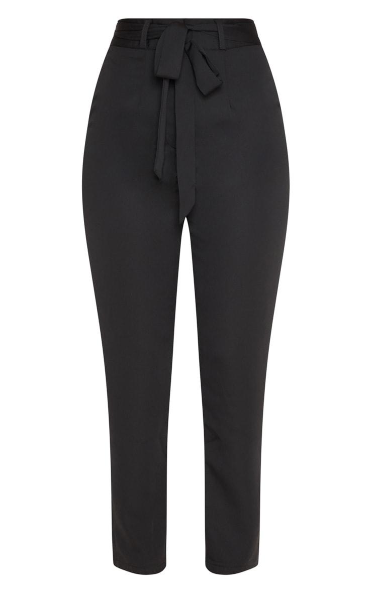 Black Satin Tie Waist Slim Leg Pants 3