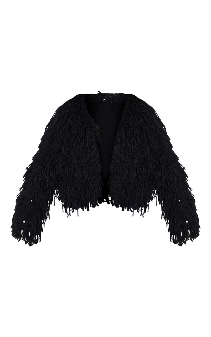 Black Shaggy Knit Cropped Cardigan 3