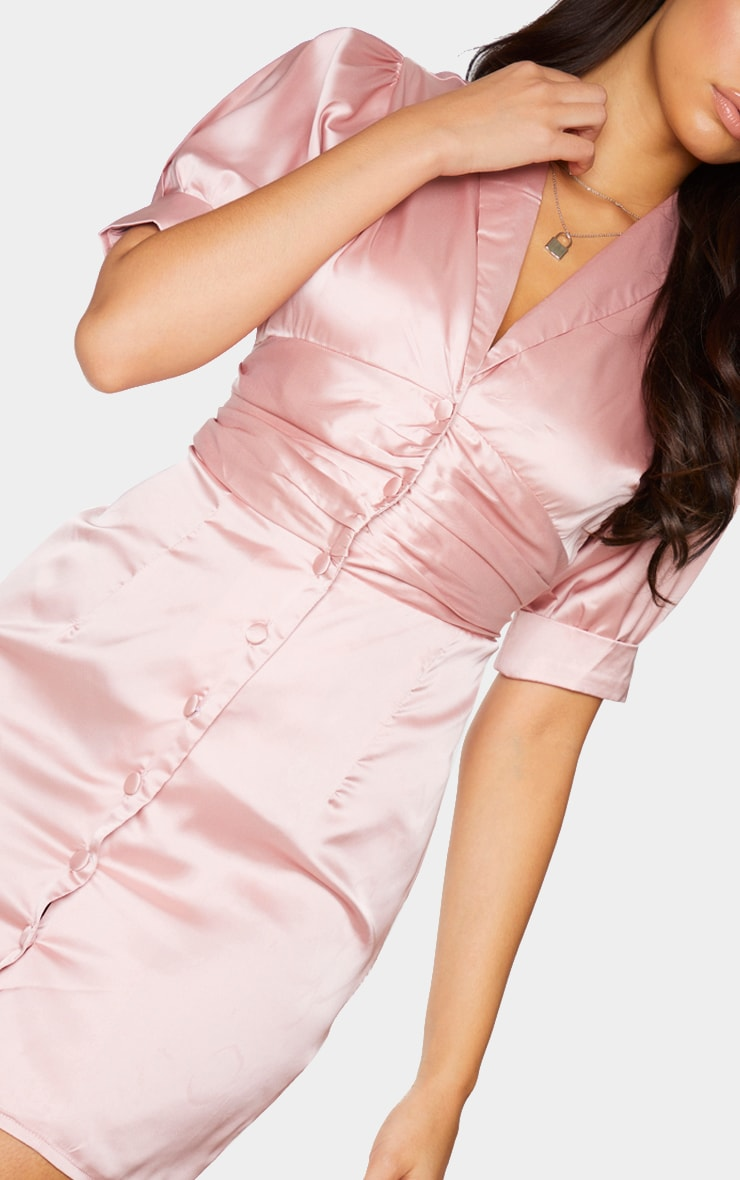 Dusty Pink Satin Lapel Puff Sleeve Button Front Bodycon Dress 4