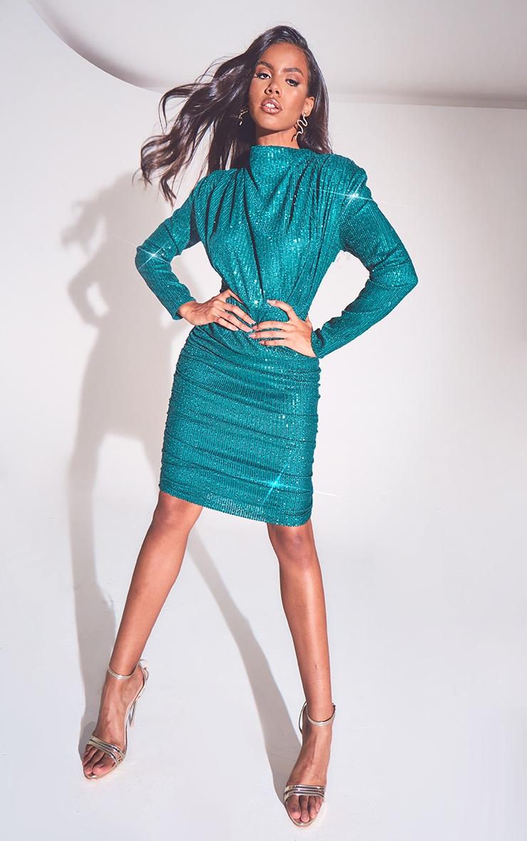 Emerald Green Sequin Shoulder Pad Ruched Front Midi Dress 1