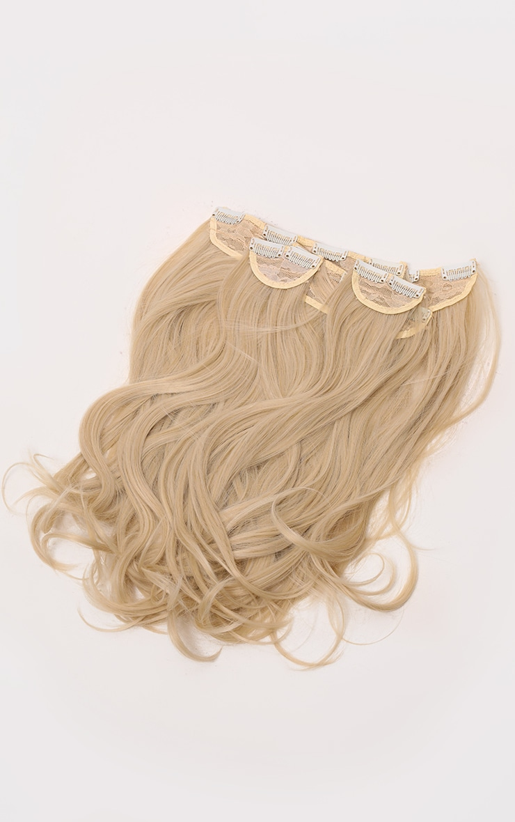 Lullabellz Super Thick 16 5 Piece Blow Dry Wavy Clip In Hair Extensions Light Blonde 5
