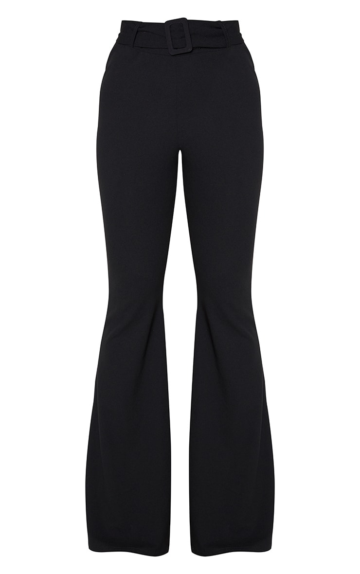 Tall Black Crepe Belt Detail Trousers 6