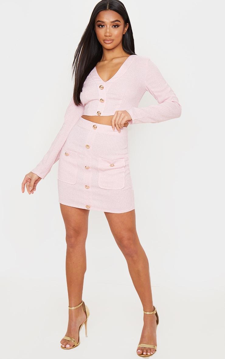 Petite Pink Tweed Button Detail Mini Skirt 1