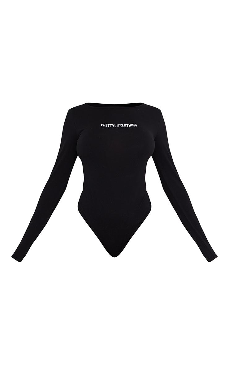 PRETTYLITTLETHING Black Printed Long Sleeve Bodysuit 5