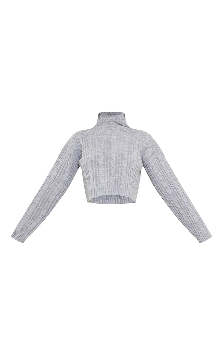 Grey Chunky Turtle Cable Sweater 5