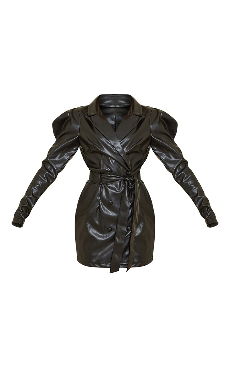 Black PU Tie Waist Cut Out Back Blazer Dress 5