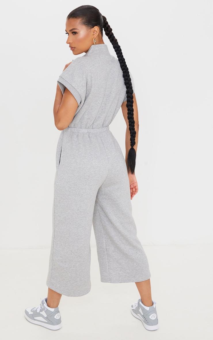 Grey Marl Monte Carlo Zip Sleeveless Sweat Culotte Jumpsuit 2
